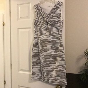 NWOT—Calvin Klein Sleeveless Gray & White Dress